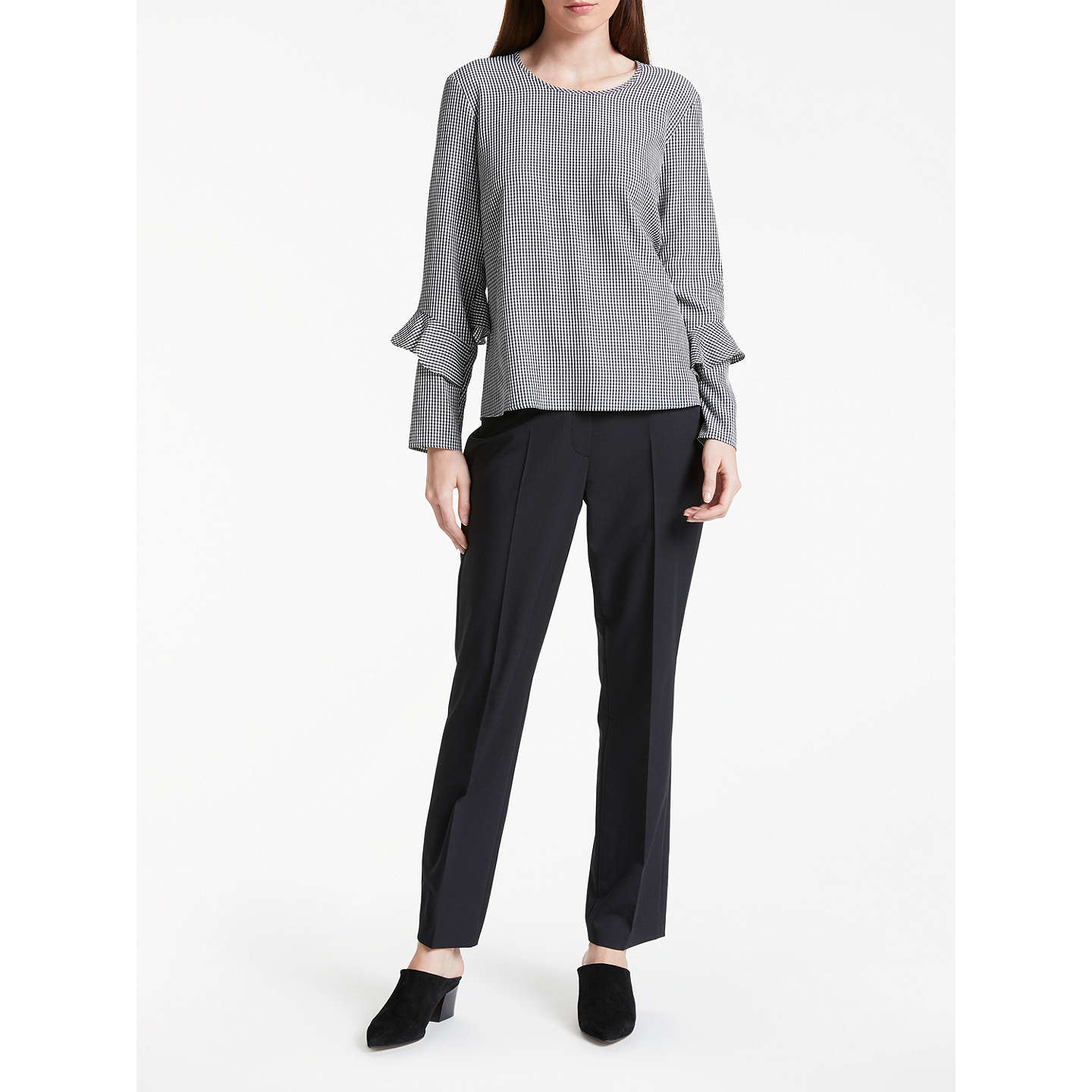 BuyGerry Weber Long Sleeve Gingham Top, Black/White, 10 Online at johnlewis.com