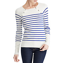 Buy Lauren Ralph Lauren Zayne Stripe Jumper, Empress Blue/Mascarpone Cream Online at johnlewis.com