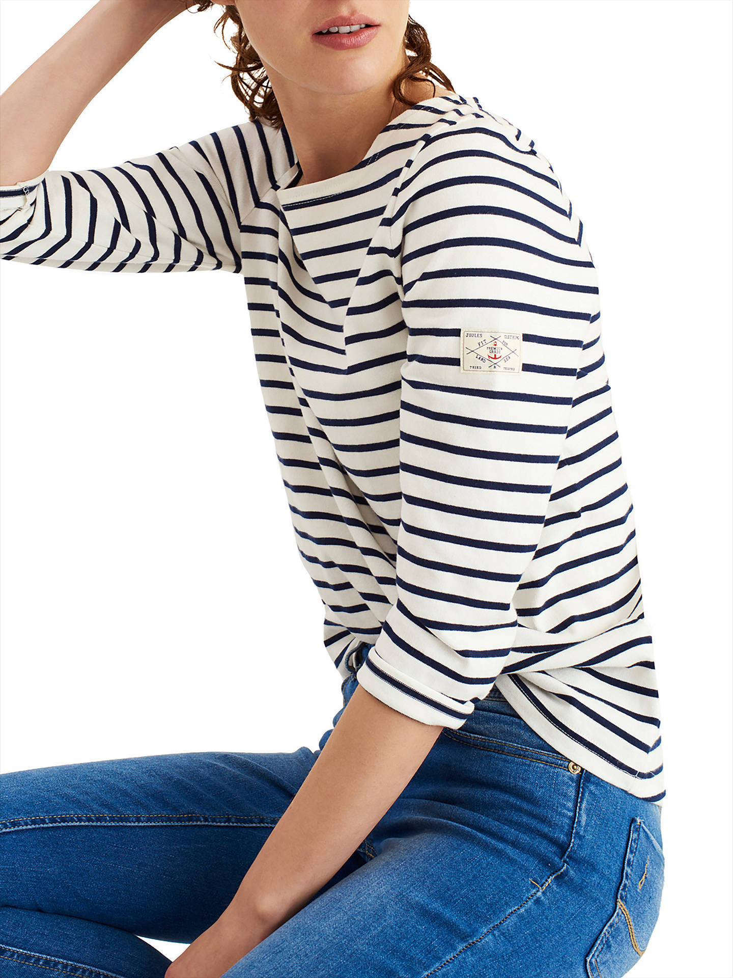 BuyJoules Harbour Stripe 3/4 Sleeve Jersey Top, Cream Stripe, 8 Online at johnlewis.com
