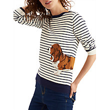 Buy Joules Miranda Intarsia Jumper, Navy Cream Basset Online at johnlewis.com