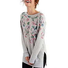 Buy Joules Lauralie Printed Sweatshirt, Grey Marl Poppy Online at johnlewis.com