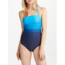 Buy John Lewis Ombre Ruched Bandeau Control Swimsuit, Blue Online at johnlewis.com