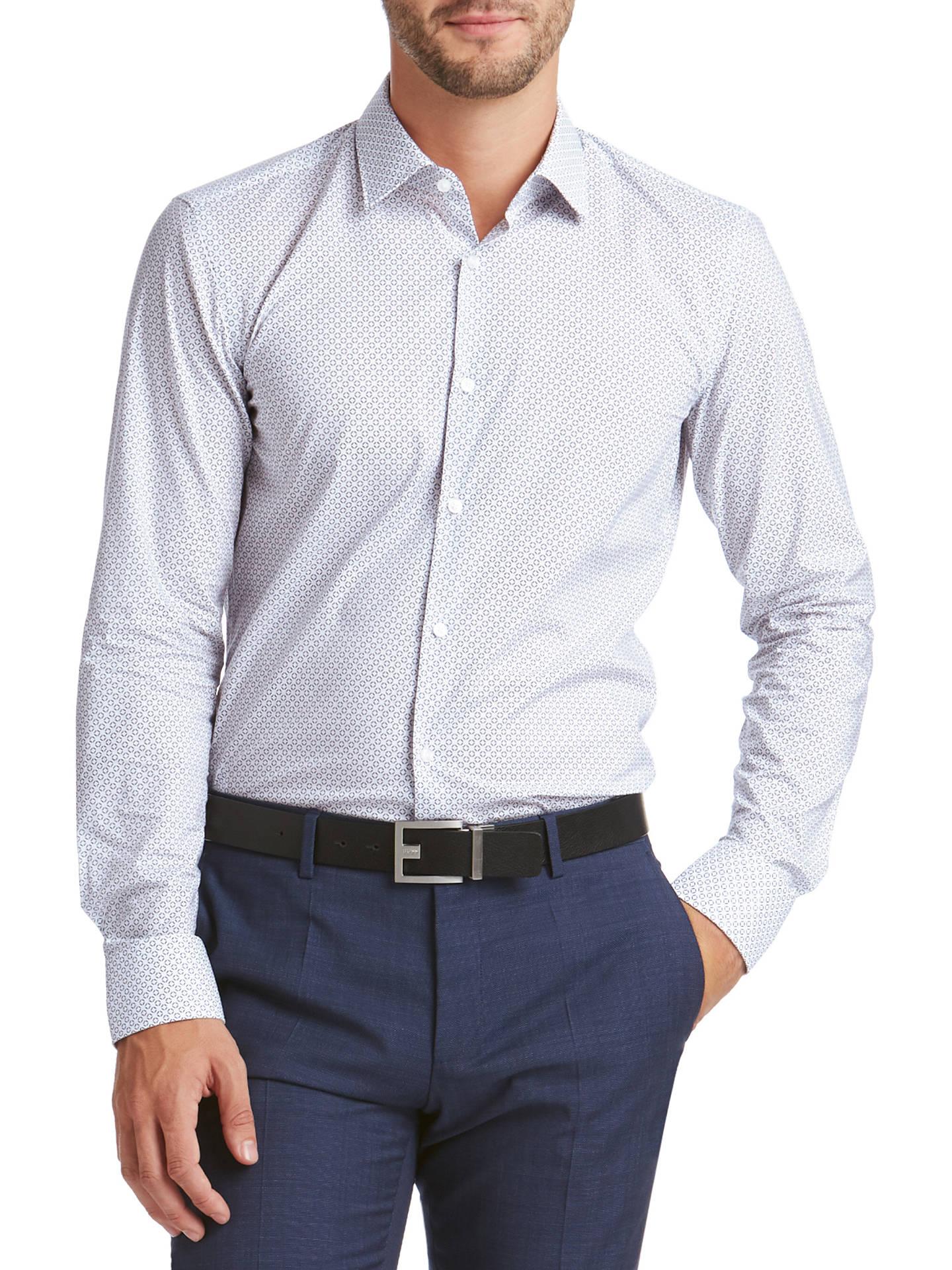 12dca915e HUGO by Hugo Boss C-Jenno Geo Print Slim Fit Shirt, White/Navy at ...