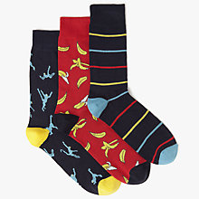 Buy John Lewis Monkey Socks, Pack of 3, Navy/Red Online at johnlewis.com