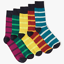Buy John Lewis Rugby Stripe Socks, Pack of 5, Multi Online at johnlewis.com