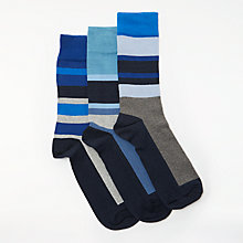 Buy John Lewis Sport Stripe Socks, Pack of 3, Blue Online at johnlewis.com