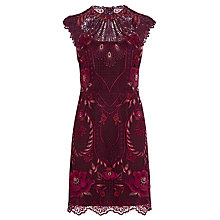 Buy Karen Millen Pieced & Panelled Lace Dress, Cranberry/Multi Online at johnlewis.com