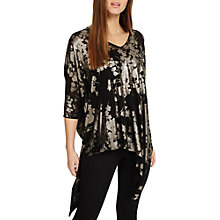 Buy Phase Eight Bonnie Blossom Foil Knitted Top, Black Online at johnlewis.com