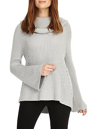 Phase Eight Cateline Cowl Swing Knit Jumper, Soft Grey