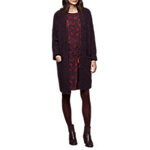 Buy East Longline Boucle Cardigan, Aubergine Online at johnlewis.com