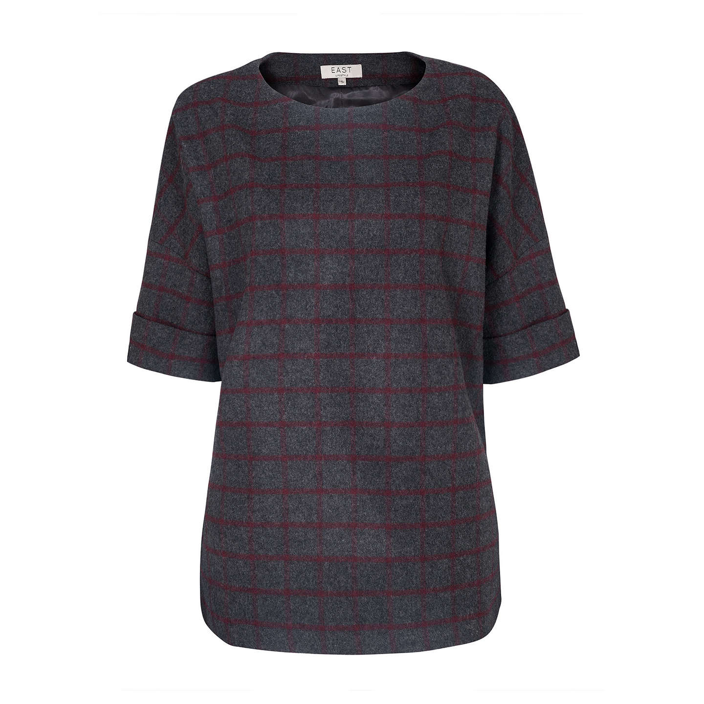 BuyEast Wool Mix Check Top, Grey, S Online at johnlewis.com