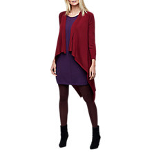 Buy East Merino Wool Long Waterfall Cardigan, Dark Red Online at johnlewis.com