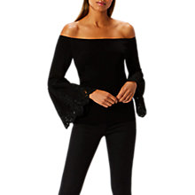 Buy Coast Evie Lace Bardot Knit Top, Black Online at johnlewis.com