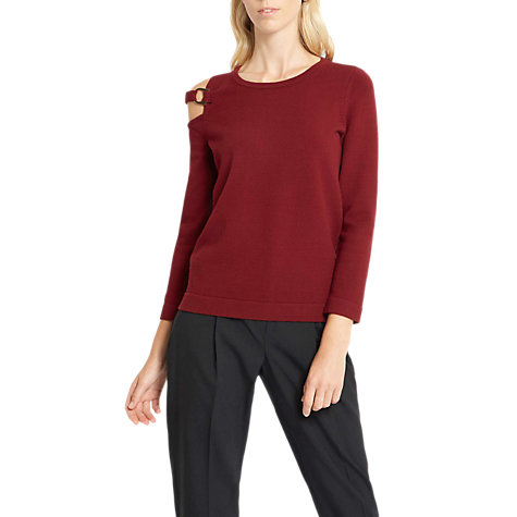 Buy Jaeger Cut Out Detail Jumper, Burgundy Online at johnlewis.com