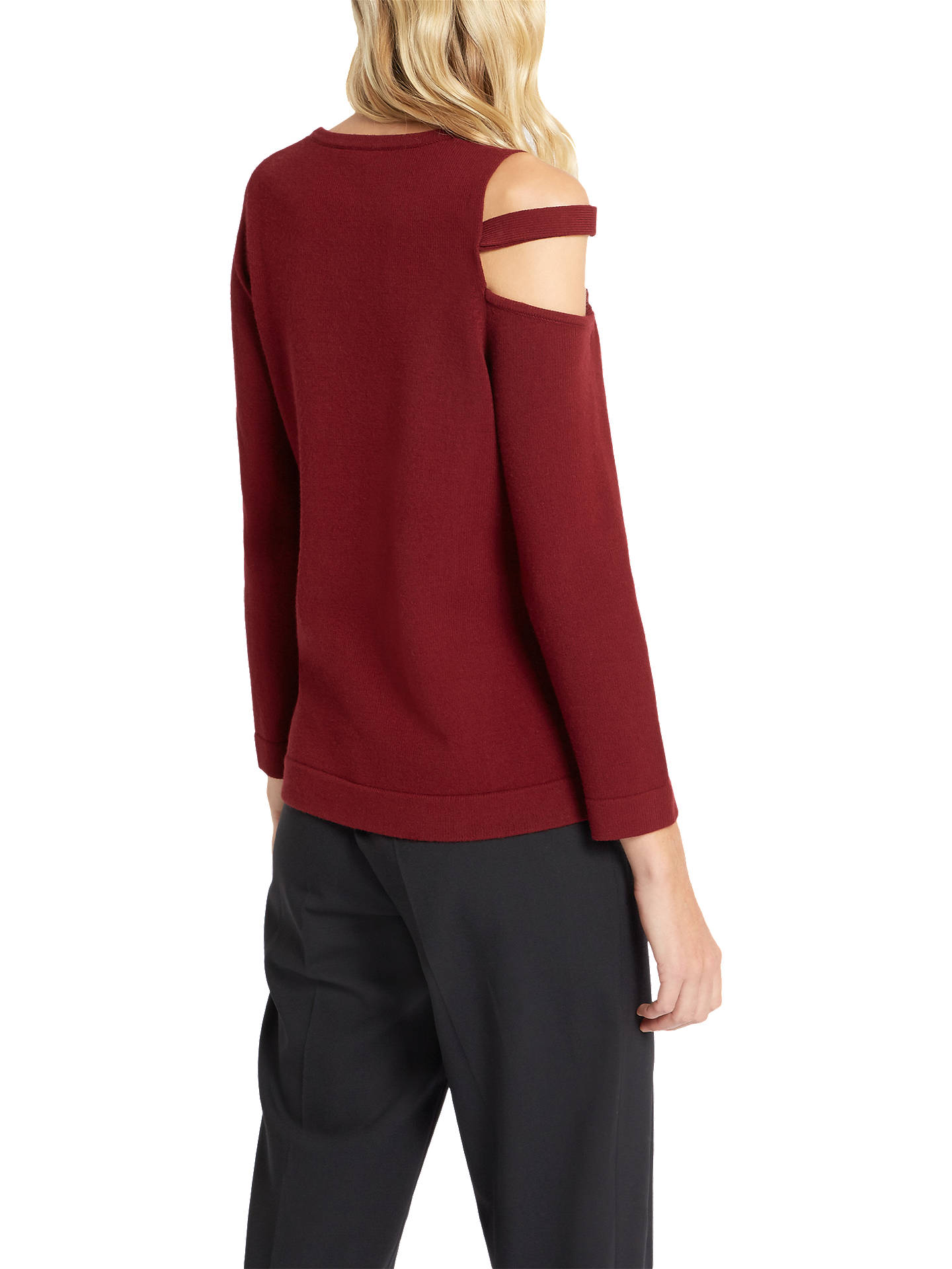 BuyJaeger Cut Out Detail Jumper, Burgundy, XS Online at johnlewis.com