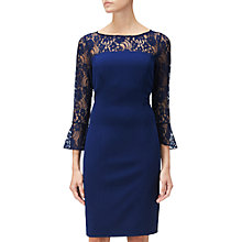 Buy Adrianna Papell Knit Crepe And Lace Sheath Dress, Blue Violet Online at johnlewis.com