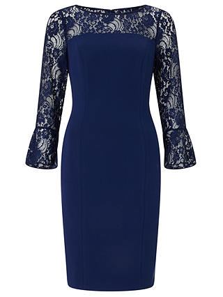Buy Adrianna Papell Knit Crepe And Lace Sheath Dress, Blue Violet, 16 Online at johnlewis.com
