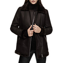 Buy Reiss Mella Longline Shearling Biker Jacket, Chocolate Online at johnlewis.com