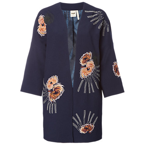 Buy White Stuff Isabella Embroidered Coat, Navy Online at johnlewis.com