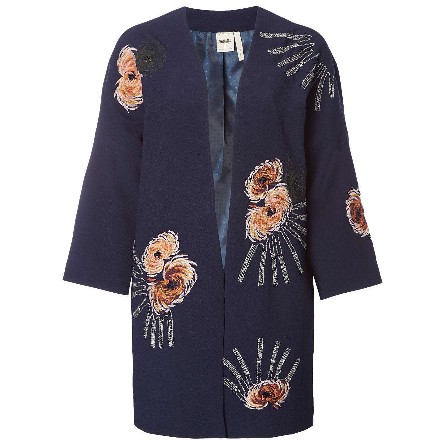 BuyWhite Stuff Isabella Embroidered Coat, Navy, 8 Online at johnlewis.com