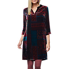 Buy East Velvet Eva Print Dress, Grape Online at johnlewis.com