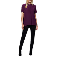 Buy East Combination Silk T-Shirt, Plum Online at johnlewis.com
