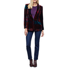 Buy East Velvet Eva Print Jacket, Grape Online at johnlewis.com