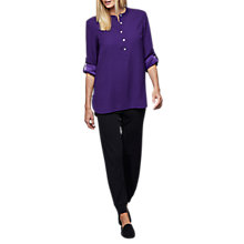 Buy East Round Neck Crepe Shirt, Purple Online at johnlewis.com