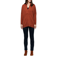 Buy East Merino Wool Notch Neck Jumper, Rust Online at johnlewis.com