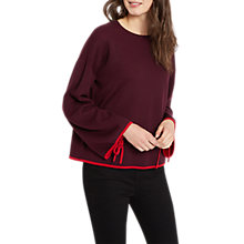 Buy Jaeger Drawstring Wide Cuff Jumper, Red Online at johnlewis.com