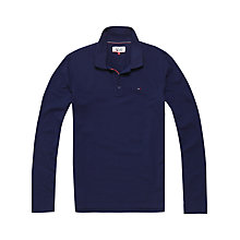 Buy Tommy Jeans Regular Long Sleeve Polo Shirt, Black Iris Online at johnlewis.com
