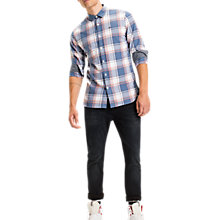 Buy Tommy Jeans Regular Fit Check Shirt, Blue/Spicy Orange Online at johnlewis.com