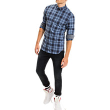 Buy Tommy Jeans Check Cotton Shirt, Blue Horizon Online at johnlewis.com