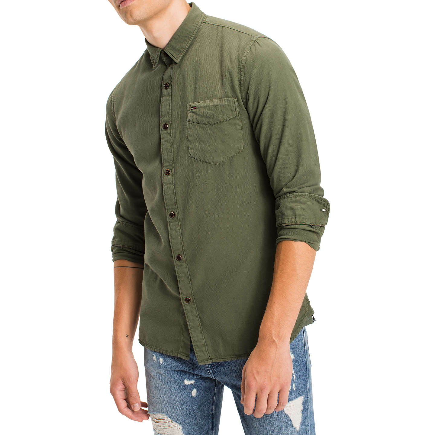 BuyTommy Jeans Denim Long Sleeve Shirt, Thyme, S Online at johnlewis.com
