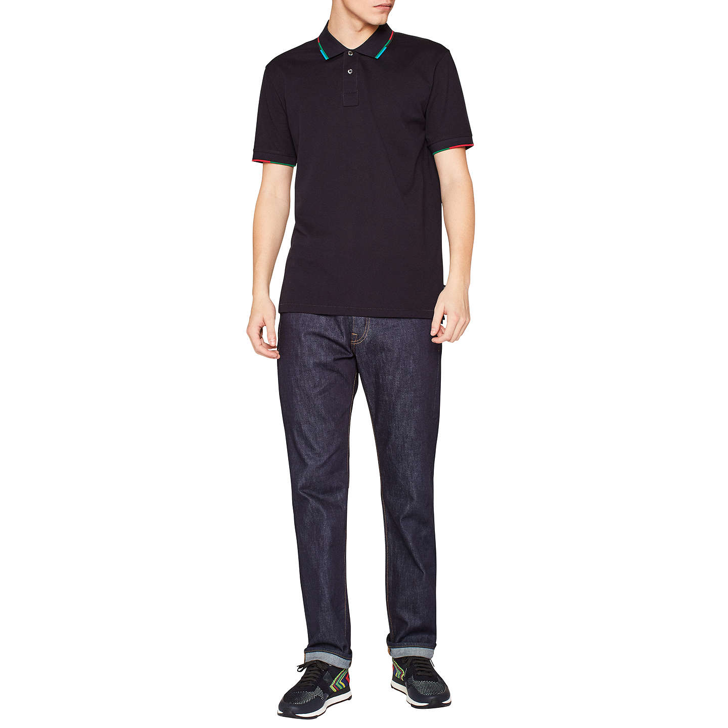 BuyPS Paul Smith Super Soft Cross Hatch Straight Jeans, Dark Navy Rinse, 30R Online at johnlewis.com