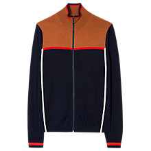 Buy PS by Paul Smith Intarsia Knit Merino Full Zip Top, Navy Online at johnlewis.com