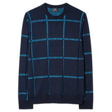 Buy PS by Paul Smith Textured Stripe Merino Cotton Jumper, Navy Online at johnlewis.com