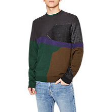 Buy PS by Paul Smith Intarsia Knit Merino Jumper, Grey/Multi Online at johnlewis.com