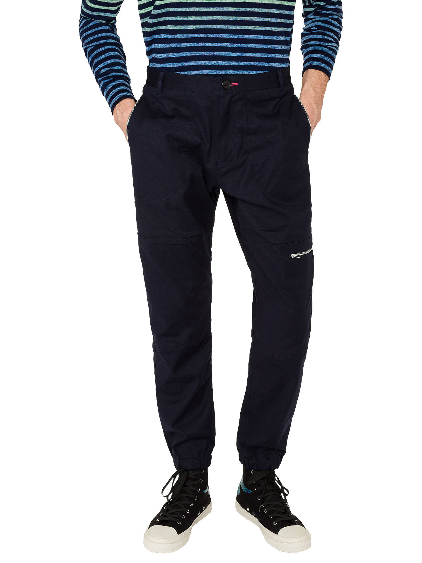 Buy PS Paul Smith Cotton Flight Trousers, Navy, 30R Online at johnlewis.com