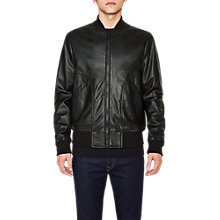 Buy PS by Paul Smith Lamb Leather Bomber Jacket, Black Online at johnlewis.com