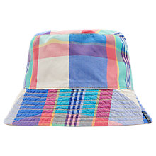Buy Little Joule Children's Reversible Check Sun Hat, Blue Online at johnlewis.com