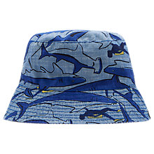 Buy Little Joule Children's Reversible Shark Dive Sun Hat, Blue Online at johnlewis.com