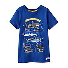 Buy Little Joule Boys' Shark Print T-Shirt, Blue Online at johnlewis.com