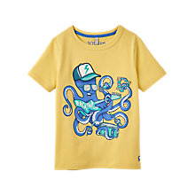 Buy Little Joule Boys' Archie Rocktopus Print T-Shirt, Lemon Yellow Online at johnlewis.com