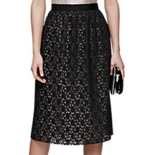 Buy Reiss Adali Lace Plisse Midi Skirt, Black Online at johnlewis.com