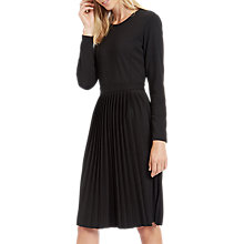 Buy Jaeger Jersey Pleated Dress, Black Online at johnlewis.com