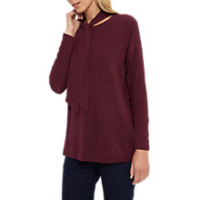 Buy Jaeger Tie Neck Jersey Top, Fig Online at johnlewis.com