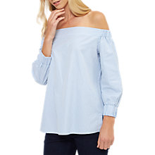 Buy Jaeger Off The Shoulder Ticking Stripe Top, Blue/Ivory Online at johnlewis.com