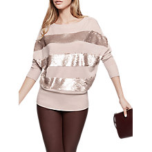 Buy Reiss Judle Sequin Stripe Jumper, Blush Online at johnlewis.com