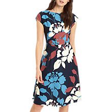 Buy Jaeger Floral Silhouette Fit And Flare Dress, Multi/Navy Online at johnlewis.com